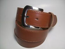 "Men Tan leather belt with Silver Snap Buckle M 34 - 36"" #Map19"