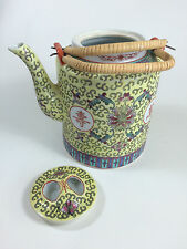 Chinese Famille Jeune Teapot with Bamboo Handles