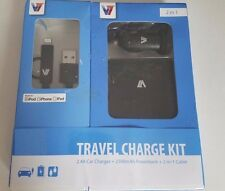 V7 3-in-1 Travel Charge Kit 2500mAh Powerbank, 2-in-1 Lightening/Micro, Car USB