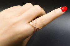 18k Rose Gold GP Ring made w Swarovski Crystal Pave Stone Cross Index Finger 9