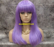 "25"" Long Straight Lavender Full Costume Party Cosplay Halloween Wig Hair Piece"