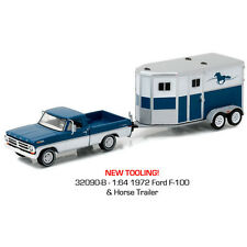 Greenlight 1972 Ford F-100 & Horse Trailer Hitch & Tow Blue/White 1:64 32090-B