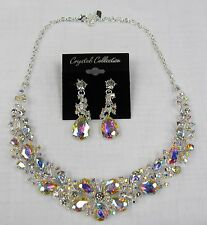 Rhinestone Crystal Silver Iridescent Statement Necklace Set Prom Bridal #17200AB