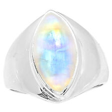 Blue Fire Moonstone 925 Sterling Silver Ring Jewelry s.7 BFMR764