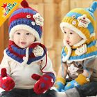 Sales Baby Boys Girls Kids Winter Warm hat scarf gloves set Beanie Caps Mittens