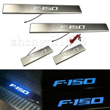BLUE LED 4 Door Stainless Scuff Plate Door Sill Guard For 2009-2014 Ford F-150