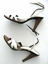 Charles Jourdan Shoes White Sexy Sandals Size 6 1/2 Vintage 1970's
