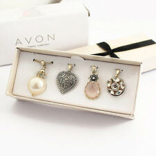 Womens Gift Heart Faux Pearl Crystal Drop Four Pendant Short Necklace Set & Box
