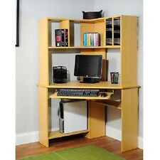 Small Corner Computer Desk Hutch Keyboard Tray Shelves Light Oak Home Office