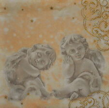4 single lovely PAPER NAPKINS for decoupage/ ANGELS/BEIGE/LOVE
