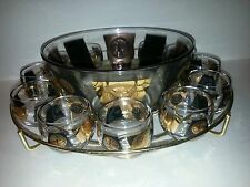 Set of Cera Roly Poly Glasses Mad Men coins Punch Bowl w/caddy 12 Glasses USA