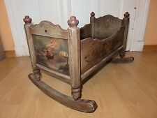 Antique German Baby Rocking Cradle Reborn Black Forest Wood Hand Painted Carved