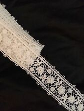 """2 yards Antique Chemical Lace Trim 1 1/4"""" White Cotton Edging Remnant Sewing"""