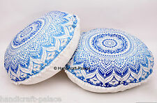 2PC Ombre Mandala Round Floor Pillow Cushion Indian Foot Stool Bean Bag tapestry