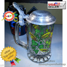 "¤ Vintage Beer Stein Glass Hopfen Und Malz Gott Echalt's 6"" Tall Wheat & Hops ¤"