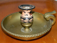 ancien bougeoir bougie LAITON & PORCELAINE Leuchter KERZE Candle Holders BRASS