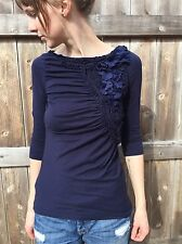 Anthropologie Floral Frappe Top By Deletta In Dark Blue Size S