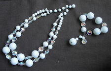 Vintage White Beaded and Crystal Double Strand Necklace & Matching Bracelet