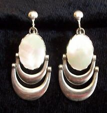 MOTHER OF PEARL CABOCHON SILVER DANGLE FASHION CLIP ON EARRINGS