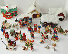 HUGE LOT VINTAGE RUSS BERRIE CHRISTMAS TOWN CERAMIC CHINA SANTA CHURCH ORNAMENTS