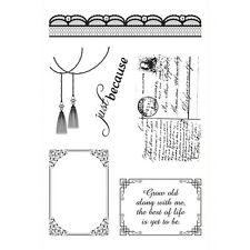Ultimate Crafts Clear Rubber Stamps A6 Magnolia Lace Shabby Chic Postcard Text