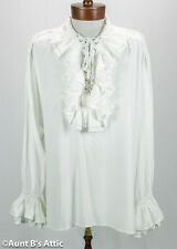 Pirate Shirt Men's 100% Rayon Laced Front Ruffled White Or Black Costume Shirt