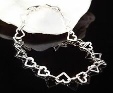 Solid Sterling Silver 925 Hearts Link Ladies Bracelet 7.5 inch Jewellery Gift
