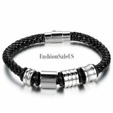 Stainless Steel Black Leather Braided Wristband Men's Women's Bracelet Bangle