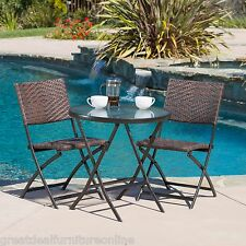Outdoor Patio Furniture 3pc Brown PE Wicker Folding Bistro Set