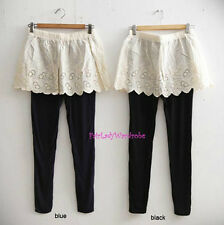 Japan 2in1 Eyelet Lace mini Slip Skirt Over Knit Leggings! Black