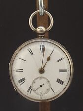 ANTIQUE LONDON 1876 JOHN FLECKNER, POCKET WATCH SOLID SILVER CASED - WORKING!