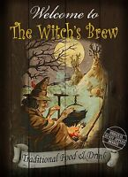 "THE WITCH""S BREW  ENGLISH   PUB SIGN RUSTIC 8""X6"" METAL SIGN /  PLAQUE"