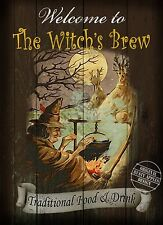"THE WITCH""S BREW: TRADITIONAL BRITISH PUB SIGN, MAN SHED HOME BAR METAL SIGN"