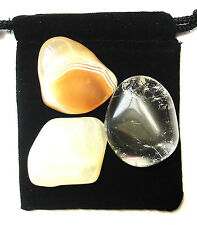 AQUARIUS ZODIAC / ASTROLOGICAL Tumbled Crystal Healing Set = 3 Stones+Pouch+Card