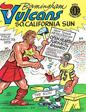 1975 BIRMINGHAM VULCANS vs SO. CALIFORNIA SUN WFL  Football Program