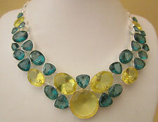 Stunning 925 Silver Plated Yellow And Blue/green Fashion Necklace  (nk1548)
