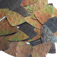 """Sequin Bronze Gold Iris Fishscale Fin 1.5"""" Tool Leather Effect Couture Paillette"""