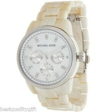 NEW-MICHAEL KORS RITZ HORN+SILVER TONE+CHRONO,MOP,CRYSTAL DIAL WATCH-MK5625+BOX