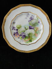 Vintage Dresden China hydrangea and violet flowers plate