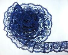 NAVY BLUE~3 Inch Wide Ruffled Floral Lace Trim~By 5 Yards