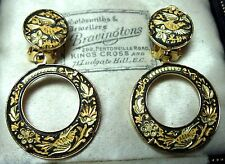 Vintage Damascene 22ct Gold Plated Enamel BIRDS Flowers Jewellery Drop EARRINGS
