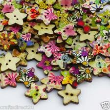 100 Shabby Chic Star Wooden Buttons - Scrapbooking - Crafting - Sewing - UK