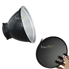 "8"" Standard Reflector Dish + Honeycomb Grid for Bowens Studio Light Strobe Units"