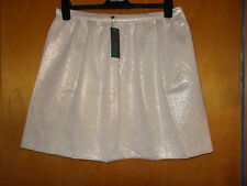"Benetton Cotton Mix Glitter Detail Skater Skirt 14 L18"" Gold Mix BNWT"