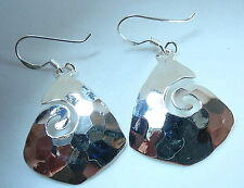 Hammered Triangular Curl Dangle Earrings 925 Sterling Silver Corona Sun Jewelry