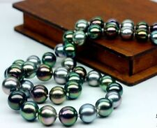 "Charming 18""9-10mm genuine tahitian black multicolor pearl necklace"