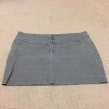 Miss Shop Mini Grey Denim Military Skirt Straight Pockets Myer Zip Buttons Brown