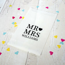 10x personalised 'MR and MRS' confetti bags for wedding, party, favours