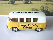 Happy Birthday PERSONALISED NAME & DATE Yellow VW CAMPER BUS Toy Model Present