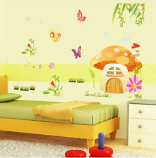 Butterfly & Mushrooms Cartoon Removable Wall Stickers For Kids Rooms Decor YXH22